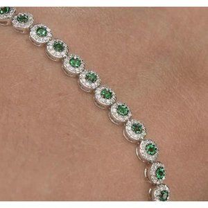 Diamond Tennis Bracelet 12 Carats Green Sapphire P